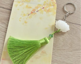 White jade lotus keychain and tassel, lucky charm bag charm, blue green yellow pink lilac pastel MOOD ASIAN men women gift