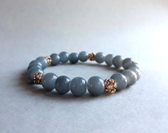 Gray bracelet, Stack bracelet, Stretch bracelet, Beaded bracelet, Mala bracelet, Calming bracelet, Elastic bracelet, Glass bead bracelet