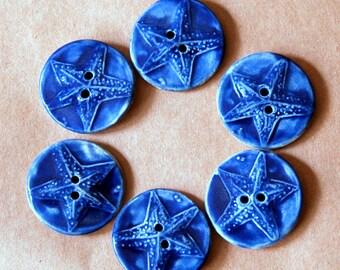 6 Handmade Ceramic Buttons - Handmade Sea Star Buttons in Deep Blue - Ocean Sea Themed Focal Stoneware Buttons - Knitting Supplies