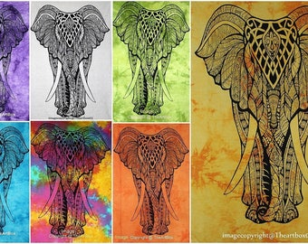Beautiful elephant wall hanging Indian-Cotton-Yoga-Mat-Wall-Tapestry-Small-Poster-Ethnic-Table-Cover-Hanging-Art