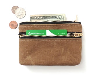 Coin Purse Wallet Double Zipper Pouch Tan Waxed Canvas