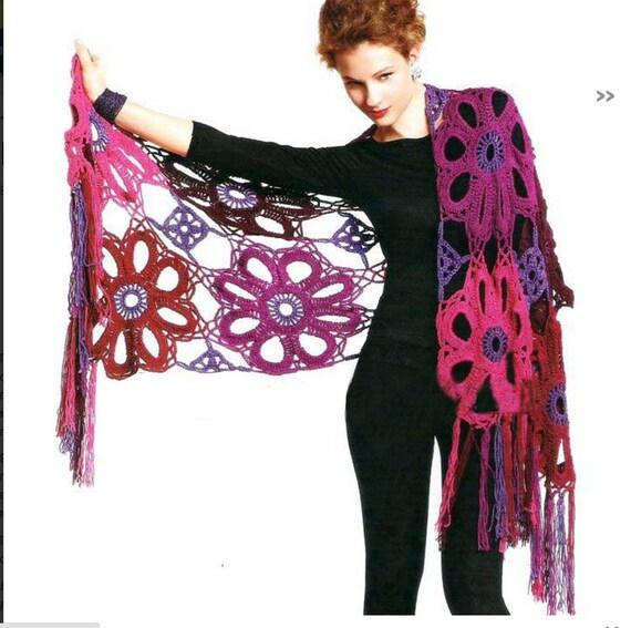 Crochet Shawl Patterncrochet Flower Shawlcrochet Lace Shawl