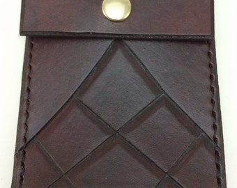 Rich mahogany hand tooled small leather wallet - slim wallet, money clip, card holder