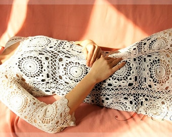 Cocktail dress MADE TO ORDER  Crochet Dress  custom made, hand made, crochet -   cotton Vintage Irish Crochet