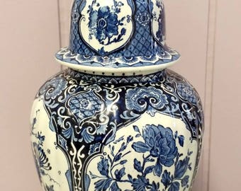 Tall Blue Delft Holland Boch Royal Sphinx Lidded Vase Urn Foo Dog