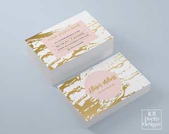 Marble business card white and gold business card gold foil business card design printable business card pink elegant business card golden