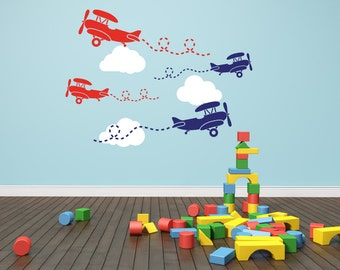Airplane Wall Decal Etsy - Nursery wall decals clouds
