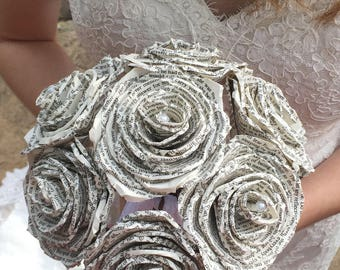 Book Page Bouquet, Paper Rose Bouquet, Book Themed Wedding Bouquet, Paper Flower Bouquet, Custom Paper Rose Bouquet, Handmade Paper Flowers