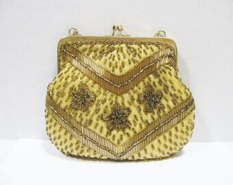 Gold Evening Bag  Le Regale Purse  Vintage Fashion  Gold Beaded Handbag  Formal Attire  Vintage Accessories  Gift for Her