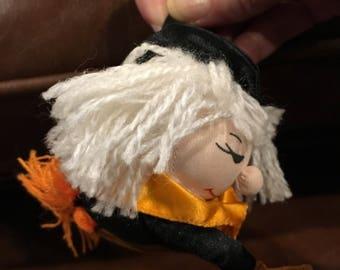 "Cute little stuffed ornament Russ witch ornament halloween  Halloween Ornament  4"" Stuffed Vtg"