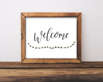 Wedding Decor Welcome Sign, Wedding Decor Hand Lettered, Welcome Sign Print, Hand Lettered Welcome Sign