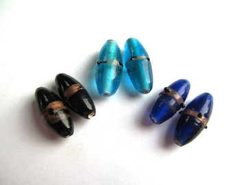Paired Lampwork Oval Banded Glass Beads