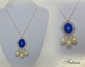 "Renaissance necklace ""Blue & White"""