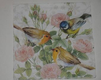 """""""three birds"""" themed paper napkin"""