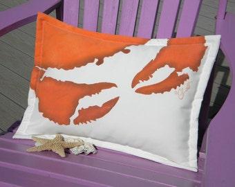 """Outdoor pillow CRAB ATTACK LUMBAR beach Dungeness gyotaku 14""""x20""""lumbar seashore coastal crustacean Crabby Chris Original copyrighted design"""