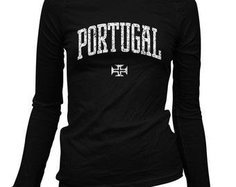 Women's Portugal Long Sleeve Tee - S M L XL 2x - Ladies' Portugal T-shirt, Portuguese, Lisbon, Porto, Algarve - 3 Colors