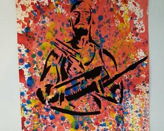 Michael Rooker Merle Walking Dead TWD 9x12 KVicious Paper Graffiti Original Art acrylic painting