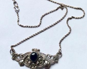 Vintage Black Onyx Filigree Balinese Sterling Silver Pendant Necklace