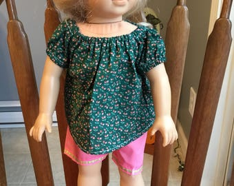 """Top with shorts fits 18"""" dolls such as American girl"""