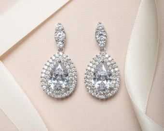 Statement Teardrop Wedding Earrings: Cubic Zirconia Bridal Earrings