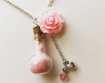 Multi Charm Necklace, Pink Flower Necklace, Sweet Lolita, Bottle Charm, Kawaii Necklace, Girly Necklace, Glass Vial Necklace, Fairy Kei