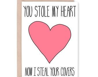 Steal your covers card, Funny Anniversary Card, Funny Card for Husband, Wife card, Love you Card, Card for Boyfriend, card for girlfriend
