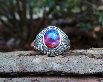 Silver Gypsy Ring, Silver Dragon's Breath Ring, Silver Fire Opal Ring, Fire Opal Jewelry, Dragon's Breath Jewelry, Red Fire Opal Ring