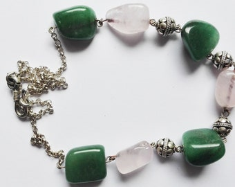 Vintage 925 sterling silver necklace with aventurine and Rose Quartz