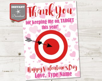 INSTANT DOWNLOAD Printable Valentine's Day 5x7 Thank You for Keeping Me on Target Gift Card Holder / Item #3108