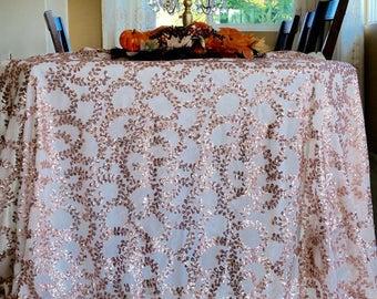 Rose Gold Vine Sequin Tablecloth,  Rose gold Vine Sequin Overlay, Rose Gold Sequin Tablecloth,