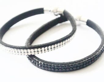 Suede and rhinestone - set of two bracelets
