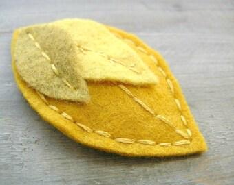 SALE Yellow Leaf Felt Clip // Mustard // Woodland Hair Accessory by OrdinaryMommy on Etsy