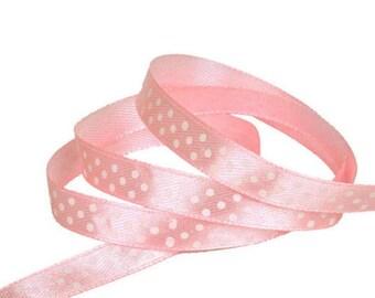 Satin ribbon / pink polka dot white / 10mm cut 50cm width