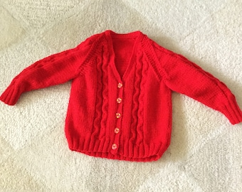 Hand knitted vintage boy's cabled cardigan, fits 2-3 years old