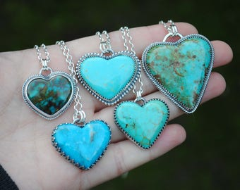 Kingman Turquoise Heart Necklace - Sterling Silver Turquoise Heart Jewelry