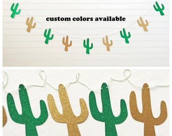 Glitter Cactus Garland - 5 Inches Tall - Fiesta Decorations Cactus Banner Fiesta Party Cinco De Mayo Glitter Cacti Succulent Garland Western