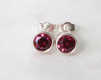 Swarovski Dark Red Zirconia Sterling Silver Stud Earrings  • Gifts for women • Bridesmaid Earrings • Prom Earrings