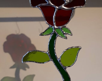 Stained glass rose suncatcher Mothers day Red White Yellow Purple Blue Sun catcher Nature gift Love gift Friendship gift