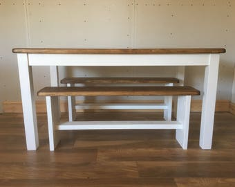 SLIM - Farmhouse Dining Table with 2 Benches