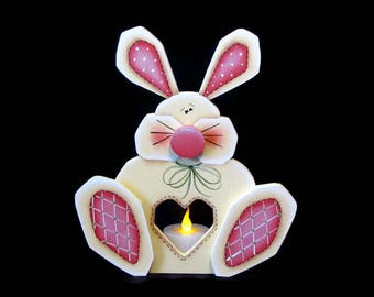 Cream  Colored Bunny LED Tea Light Candle Holder, Handpainted Wood Shelf Sitter, Hand Painted Easter Decor, Tole Decorative Painting
