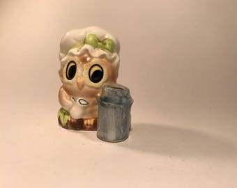 Vintage 50s 60s Ceramic Kitschy Owl Toothpick Holder Kitchen Japan