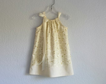 New! Girls Metallic Gold Party Dress - Metallic Gold Roses on Cream - Girls Gold Pillowcase Dress - Size 12m, 18m, 2T, 3T, 4T, 5, 6, 8, 10