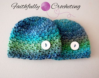 Newborn Twin boy Hats...Ready to ship...OOAK set... Photography prop