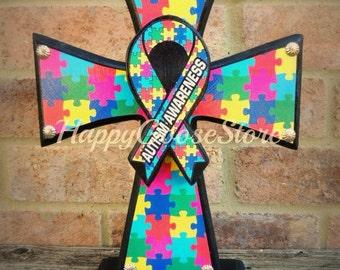 Wood Cross - Standing Cross - Autism Awareness Cross