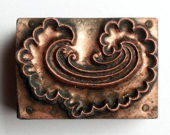 PAISLEY FLOURISH 1903-1953 Antique GERMAN Copper Letterpress Cut printing block Lacy Cloud