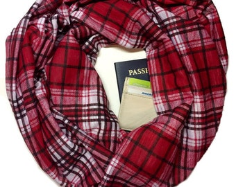 Ruby | Red, White & Black Plaid Infinity Scarf With Hidden Pocket