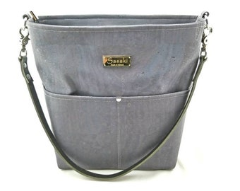 MTO- Dark Grey Cork Shoulder Bag with Leather Strap - 9 pockets