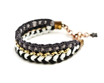 Black and White Statement Bracelet, Fabric Bracelet, Crochet Bracelet with Cotton Jersey and Silky Yarn, Hippie, Ibiza Style, Folk Jewelry