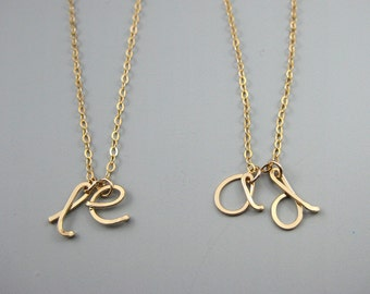 Two Initial Necklace - personalized lower case double cursive letter with gold filled chain, custom mother of twins jewelry