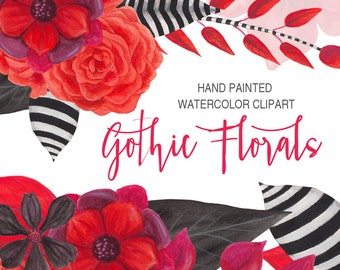 gothic watercolor floral clipart, black and red flowers, hand painted watercolor graphics, goth florals watercolor wedding graphics